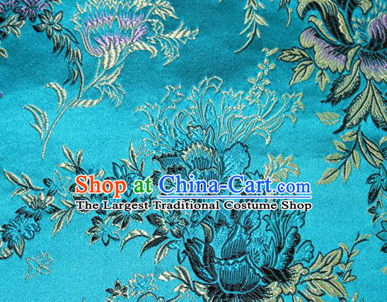 Asian Chinese Tang Suit Silk Fabric Blue Brocade Traditional Peony Pattern Design Satin Material