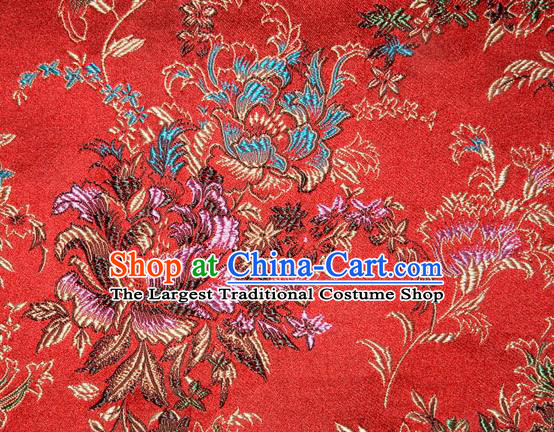 Asian Chinese Tang Suit Silk Fabric Brocade Traditional Peony Pattern Design Satin Material