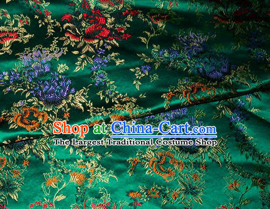 Asian Chinese Tang Suit Silk Fabric Green Brocade Traditional Peony Pattern Design Satin Material