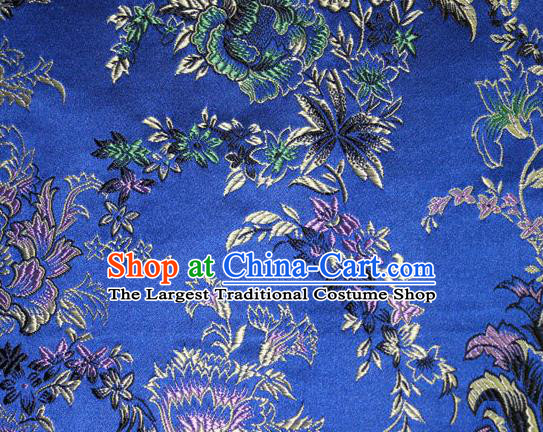 Asian Chinese Tang Suit Silk Fabric Royalblue Brocade Traditional Peony Pattern Design Satin Material