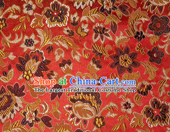 Asian Chinese Tang Suit Silk Fabric Red Brocade Traditional Flowers Pattern Design Satin Material
