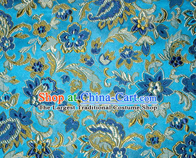 Asian Chinese Tang Suit Silk Fabric Blue Brocade Traditional Flowers Pattern Design Satin Material