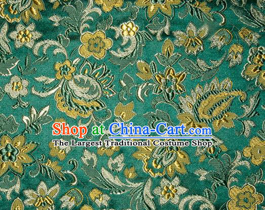 Asian Chinese Tang Suit Silk Fabric Green Brocade Traditional Flowers Pattern Design Satin Material
