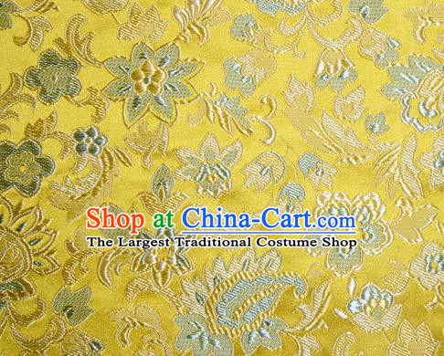 Asian Chinese Tang Suit Silk Fabric Golden Brocade Traditional Flowers Pattern Design Satin Material