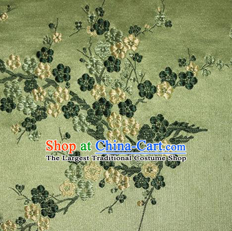 Asian Chinese Tang Suit Silk Fabric Green Brocade Traditional Plum Blossom Pattern Design Satin Material