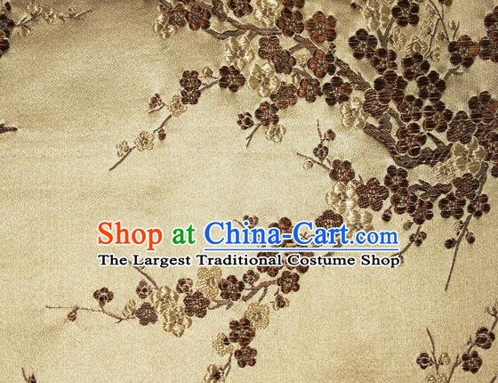 Asian Chinese Tang Suit Silk Fabric Golden Brocade Traditional Plum Blossom Pattern Design Satin Material