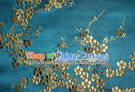 Asian Chinese Tang Suit Silk Fabric Peacock Blue Brocade Traditional Plum Blossom Pattern Design Satin Material