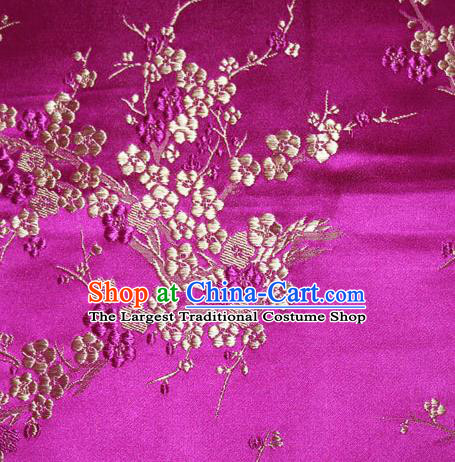 Asian Chinese Tang Suit Silk Fabric Rosy Brocade Traditional Plum Blossom Pattern Design Satin Material