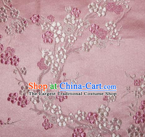 Asian Chinese Tang Suit Silk Fabric Pink Brocade Traditional Plum Blossom Pattern Design Satin Material
