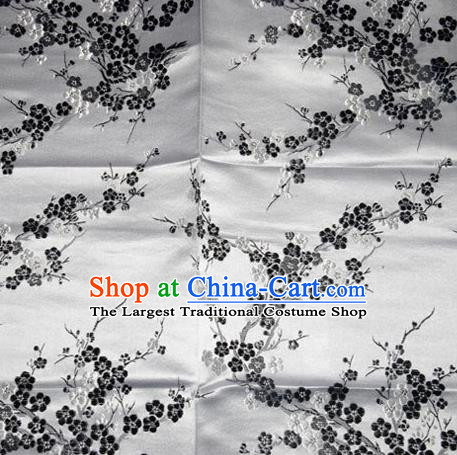 Asian Chinese Tang Suit Silk Fabric Grey Brocade Traditional Plum Blossom Pattern Design Satin Material