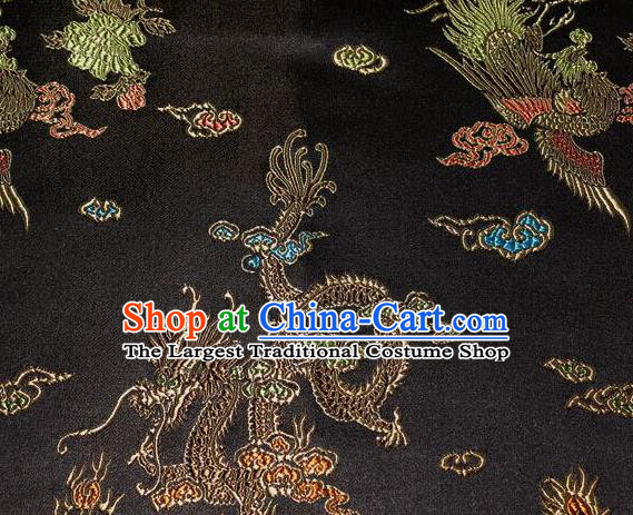 Asian Chinese Tang Suit Black Brocade Silk Fabric Traditional Dragon Pattern Design Satin Material