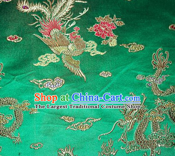 Asian Chinese Tang Suit Brocade Green Silk Fabric Traditional Dragon Pattern Design Satin Material