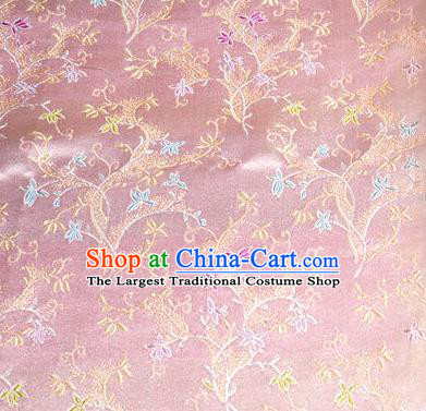 Asian Chinese Tang Suit Brocade Pink Silk Fabric Traditional Royal Pattern Design Satin Material