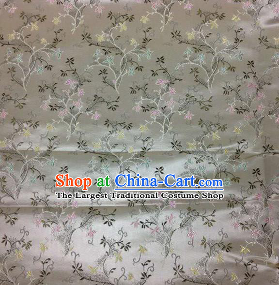 Asian Chinese Tang Suit Brocade Grey Silk Fabric Traditional Royal Pattern Design Satin Material