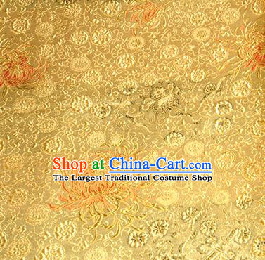 Asian Traditional Royal Chrysanthemum Pattern Design Golden Satin Material Chinese Tang Suit Brocade Silk Fabric