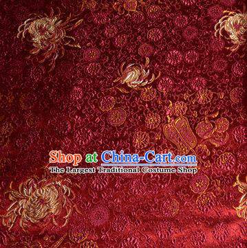 Asian Traditional Royal Chrysanthemum Pattern Design Purplish Red Satin Material Chinese Tang Suit Brocade Silk Fabric