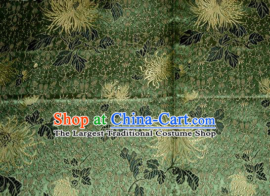 Asian Traditional Royal Chrysanthemum Pattern Design Green Satin Material Chinese Tang Suit Brocade Silk Fabric