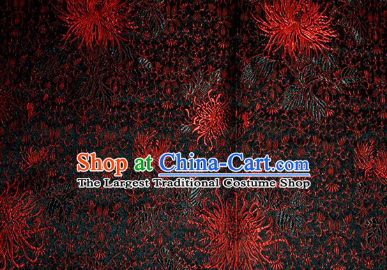 Asian Traditional Royal Chrysanthemum Pattern Design Black Satin Material Chinese Tang Suit Brocade Silk Fabric