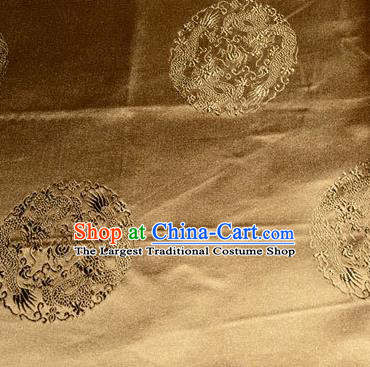 Asian Chinese Tang Suit Silk Fabric Bronze Brocade Traditional Dragons Pattern Design Satin Material