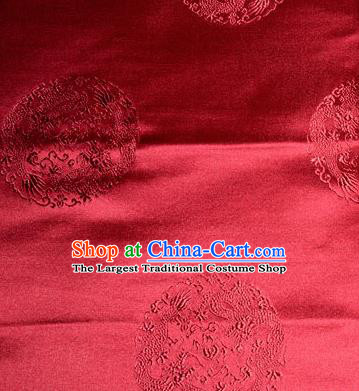 Asian Chinese Tang Suit Silk Fabric Red Brocade Traditional Dragons Pattern Design Satin Material