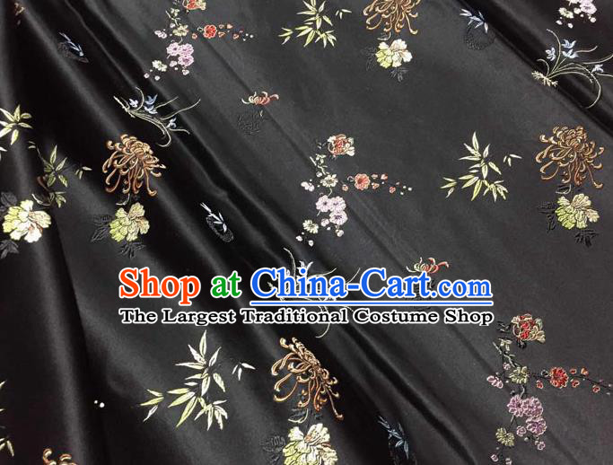 Asian Chinese Tang Suit Black Brocade Silk Fabric Traditional Plum Blossom Orchid Bamboo Chrysanthemum Pattern Design Satin Material