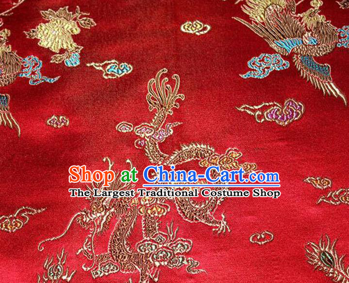 Asian Chinese Tang Suit Brocade Silk Fabric Traditional Dragon Pattern Design Satin Material