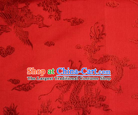 Asian Chinese Tang Suit Red Brocade Silk Fabric Traditional Dragon Pattern Design Satin Material