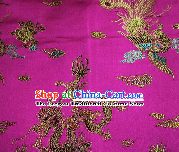 Asian Chinese Tang Suit Rosy Brocade Silk Fabric Traditional Dragon Pattern Design Satin Material