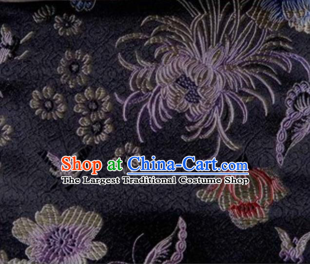 Asian Traditional Peony Chrysanthemum Pattern Design Black Satin Material Chinese Tang Suit Brocade Silk Fabric
