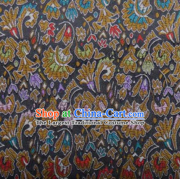 Asian Traditional Cockscomb Pattern Design Black Satin Material Chinese Tang Suit Brocade Silk Fabric