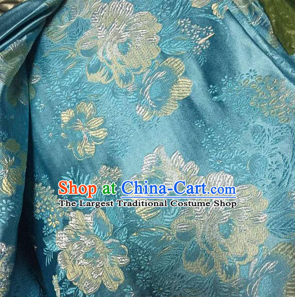 Asian Traditional Peony Pattern Design Blue Satin Material Chinese Tang Suit Brocade Silk Fabric