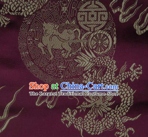 Asian Traditional Kylin Dragon Pattern Design Wine Red Satin Material Chinese Tang Suit Brocade Silk Fabric