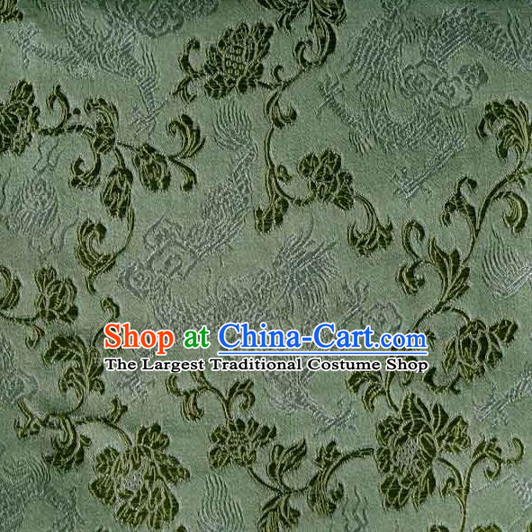Asian Traditional Peony Pattern Design Green Satin Material Chinese Tang Suit Brocade Silk Fabric