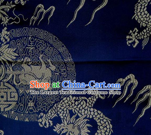 Asian Traditional Kylin Dragon Pattern Design Royalblue Satin Material Chinese Tang Suit Brocade Silk Fabric