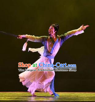 Chinese Traditional Classical Dance Costumes Drama Performance Li Bai Folk Dance Clothing for Men