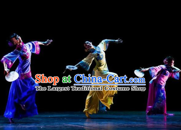 Chinese Traditional Manchu Group Dance Costumes Classical Dance Stage Performance Dress for Women