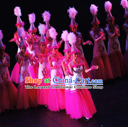 Chinese Traditional Kazak Nationality Group Dance Costumes Classical Dance Stage Performance Dress for Women