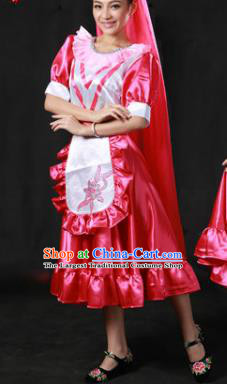 Chinese Traditional Tatar Nationality Classical Dance Costumes Group Dance Stage Performance Dress for Women