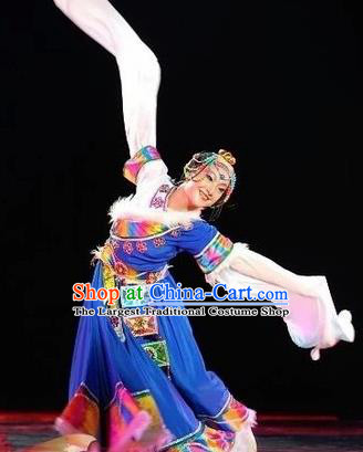 Chinese Traditional Zang Nationality Classical Dance Costumes Group Dance Stage Performance Dress for Women