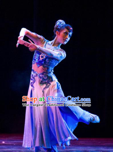 Chinese Traditional Classical Dance Group Dance Costumes Stage Performance Blue Dress for Women