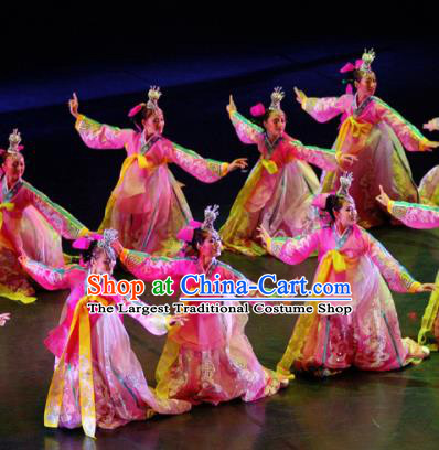 Chinese Traditional Folk Dance Group Dance Costumes Korean Nationality Stage Performance Pink Dress for Women