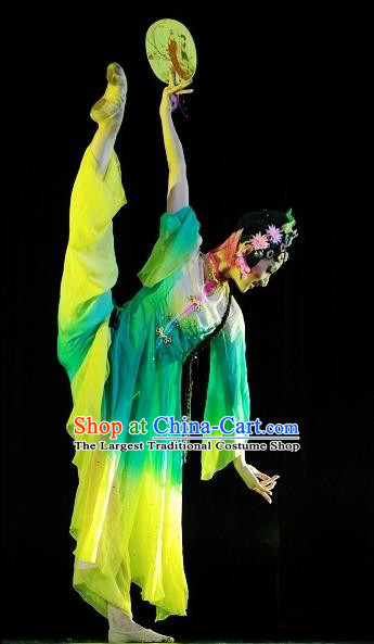 Chinese Traditional Group Dance Stage Performance Costumes Classical Dance Green Dress for Women