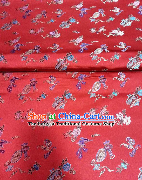Asian Traditional Vases Pattern Design Red Satin Material Chinese Tang Suit Brocade Silk Fabric