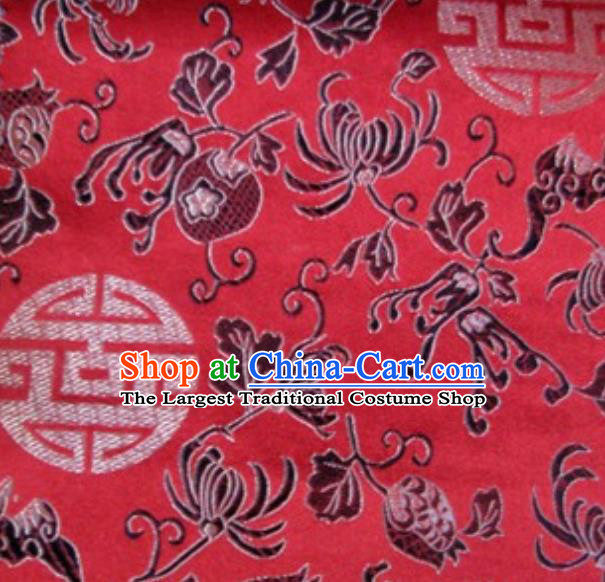 Asian Traditional Royal Pattern Design Red Satin Material Chinese Tang Suit Brocade Silk Fabric
