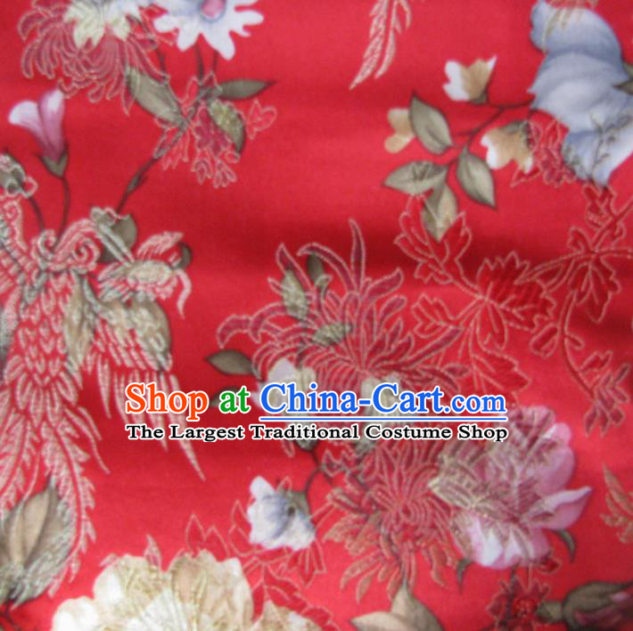 Asian Traditional Royal Phoenix Pattern Design Red Satin Material Chinese Tang Suit Brocade Silk Fabric