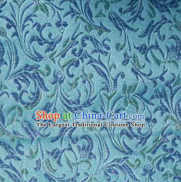 Asian Traditional Royal Pattern Design Blue Satin Material Chinese Tang Suit Brocade Silk Fabric
