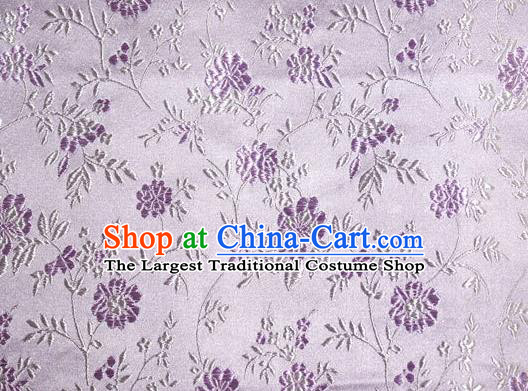 Asian Traditional Royal Flowers Pattern Design Lilac Satin Material Chinese Tang Suit Brocade Silk Fabric