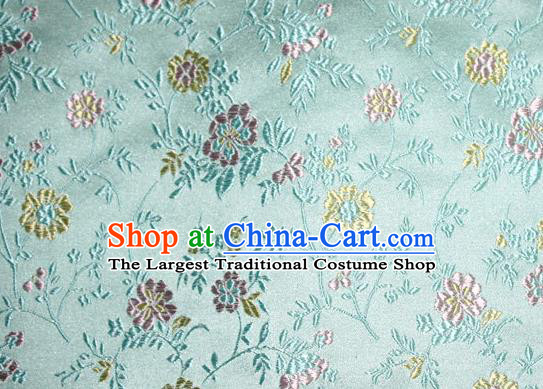 Asian Traditional Royal Flowers Pattern Design Green Satin Material Chinese Tang Suit Brocade Silk Fabric