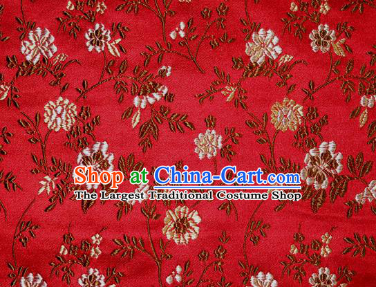 Asian Traditional Royal Flowers Pattern Design Red Satin Material Chinese Tang Suit Brocade Silk Fabric