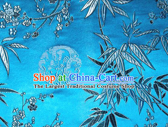 Asian Traditional Royal Plum Blossom Bamboo Pattern Design Blue Satin Material Chinese Tang Suit Brocade Silk Fabric